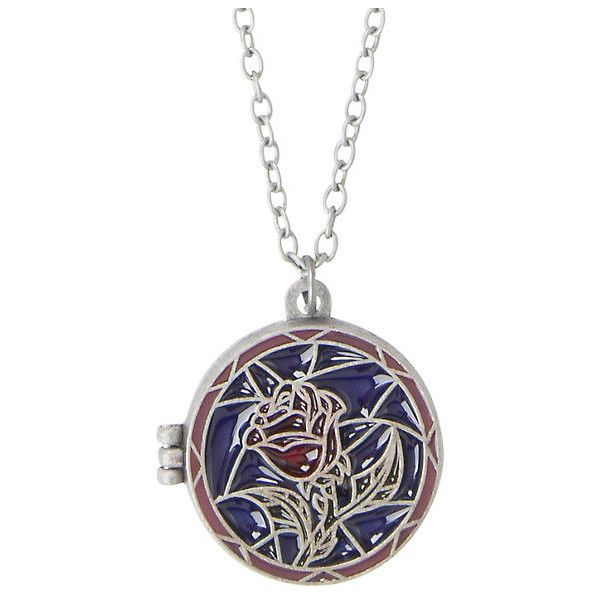Disney Beauty And The Beast Stained Glass Rose Locket Necklace Hot... (43 MYR) ❤ liked on Polyvore featuring jewelry, necklaces, disney, chain jewelry, rose locket, disney jewelry and locket jewelry
