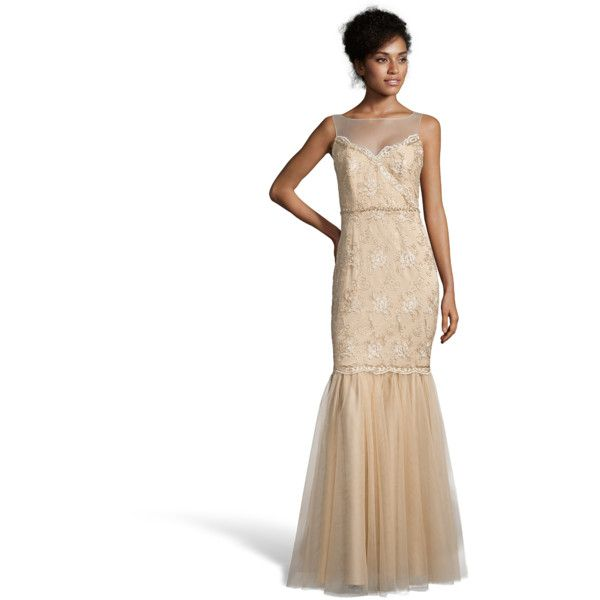 Badgley Mischka Gold Tulle Beaded Illusion Neck Evening Gown ($445 ...