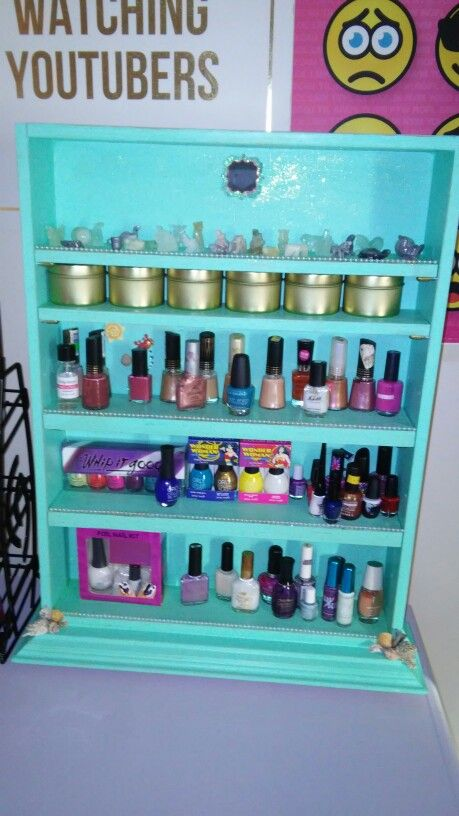 Nail polish stand. Diy made from an old medicine cabinet. We cut two ...