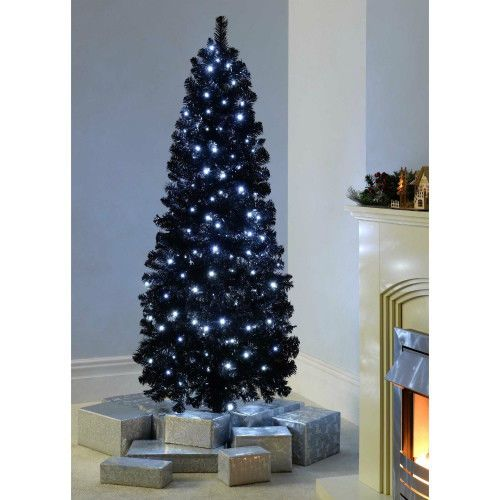 6ft black christmas tree slim led light artificial hliday decoration metal stand unbranded