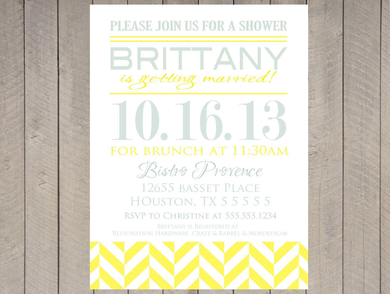 Mint And Lemon Yellow Chevron Herringbone Bridal Shower Invitation