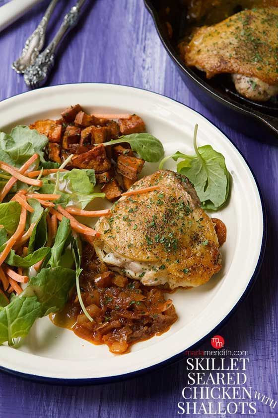Skillet Seared Chicken with Shallots recipe, healthy & delicious images