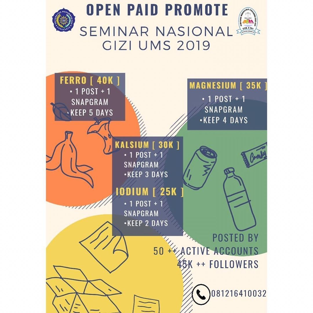 OPEN PAID PROMOTE📢📢 [ SEMINAR NASIONAL GIZI UMS 2019