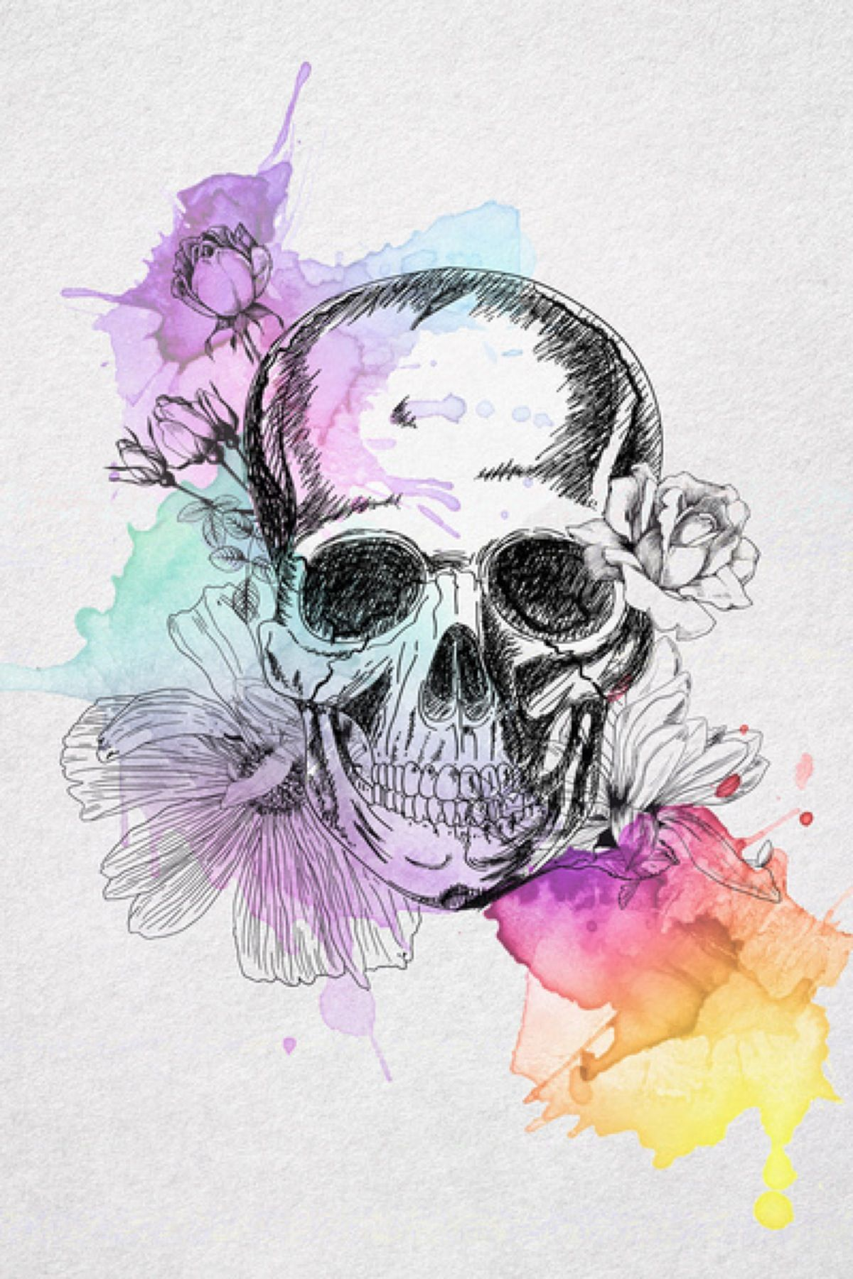 Watercolour flower Skull tattoos, Skull art, Art tattoo