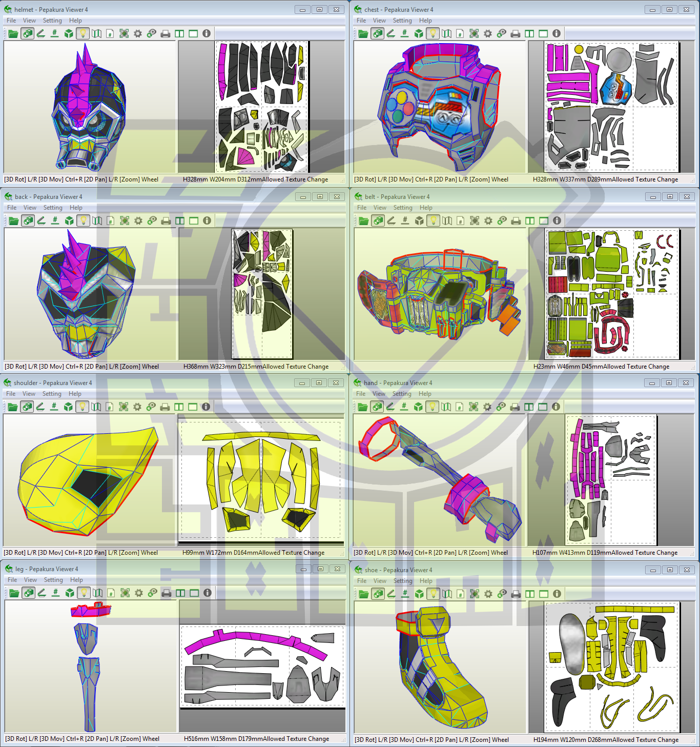 Kamen Rider Lazer Turbo Costume Template Pattern Pepakura 3D Model