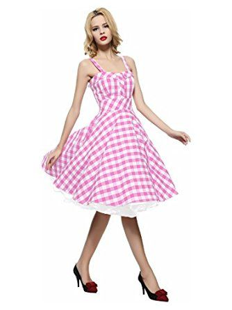 Maggie Tang Women's 1950s Vintage Rockabilly Full Circle Swing Party Dress at…