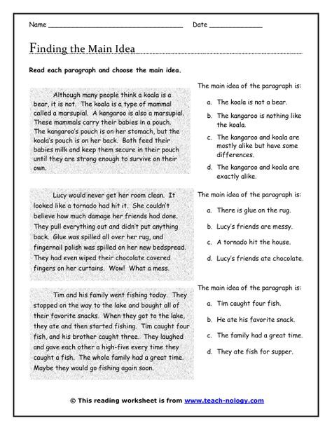 Click To Print Assignments Main Idea Worksheet Main