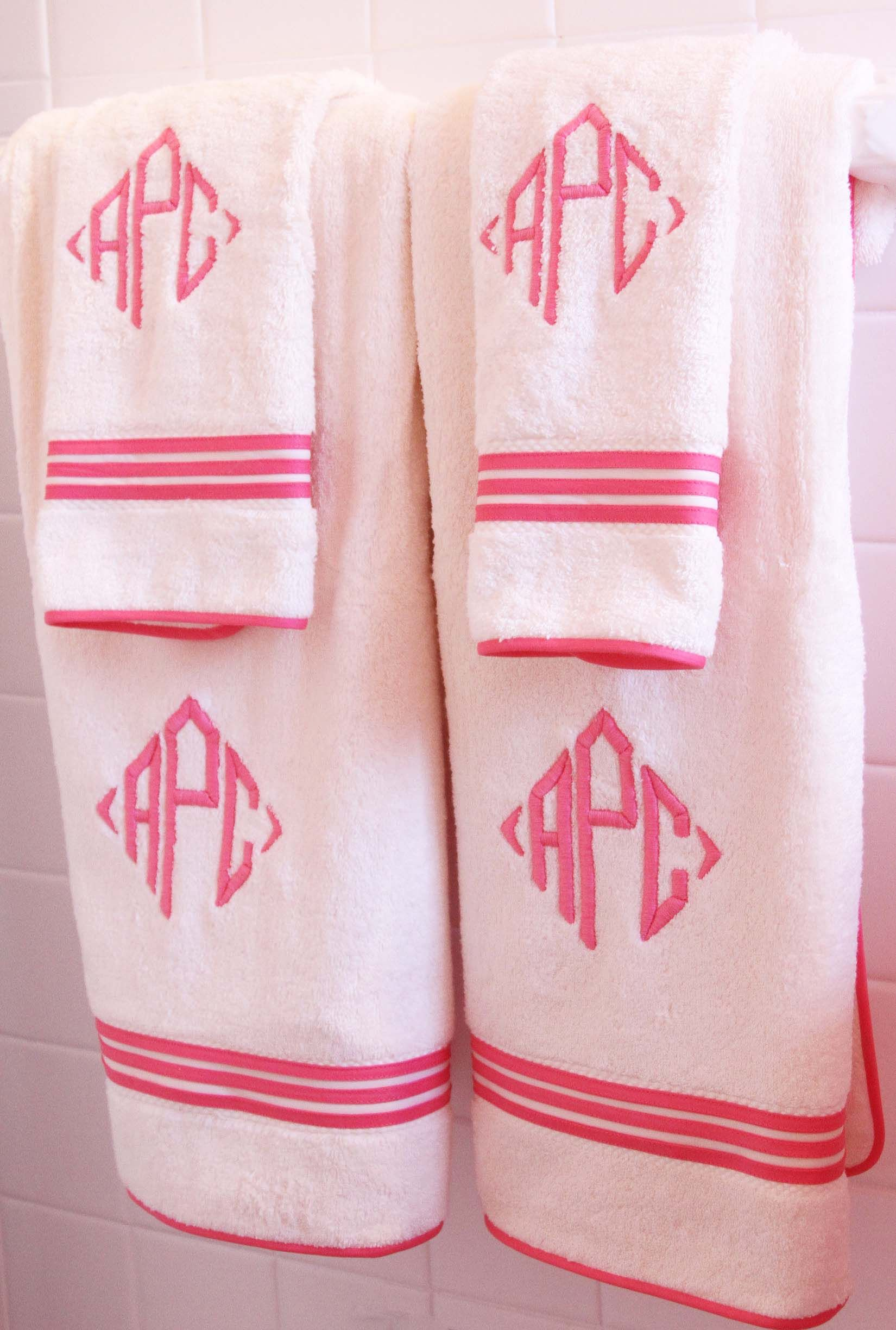 Diamond Monogrammed Newport Bath Towels In Pink College - Personalized bath towels for small bathroom ideas