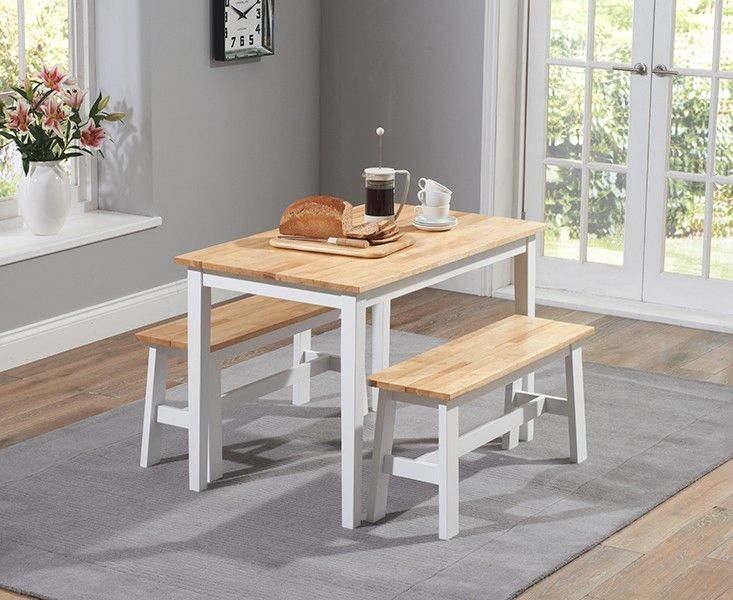 Chiltern 120Cm White And Oak Dining Table With Benches New In Gorgeous White Dining Room Bench 2018