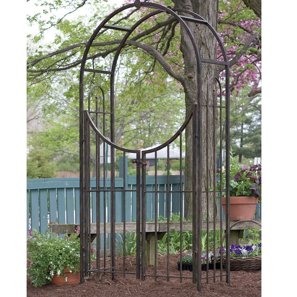 Metal garden arch way gate rustic steel bronze anti rust for Metal sun shade structures