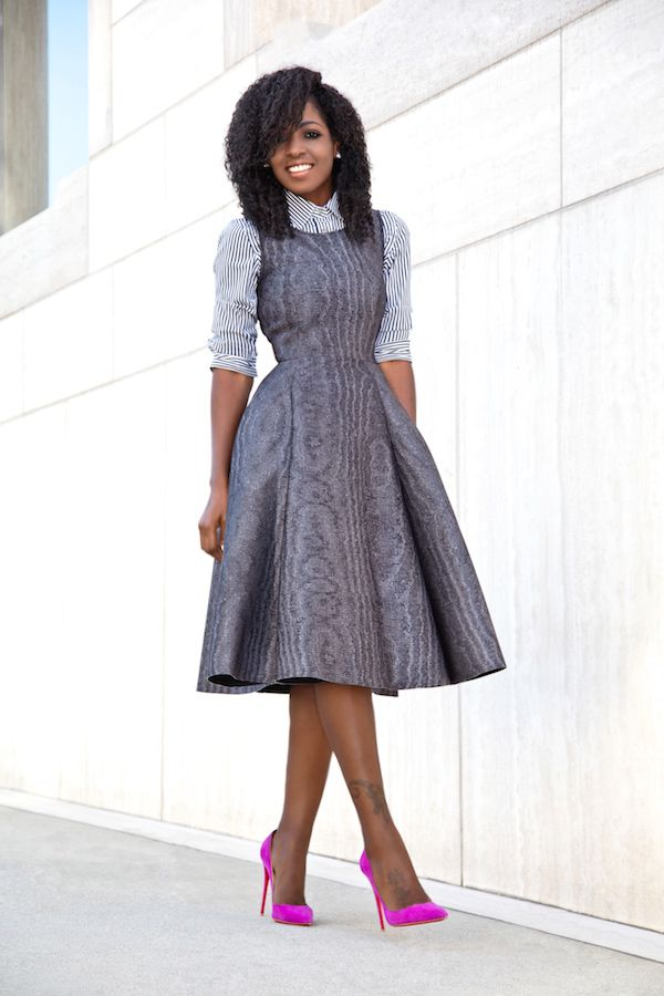 94e66bb5e121 Style Pantry   Striped Shirt Fit Skirt Outfits, Midi Dress Outfit, Midi  Dresses,