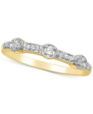 Diamond Millgrain Stackable Band (1/8 ct. t.w.) - White