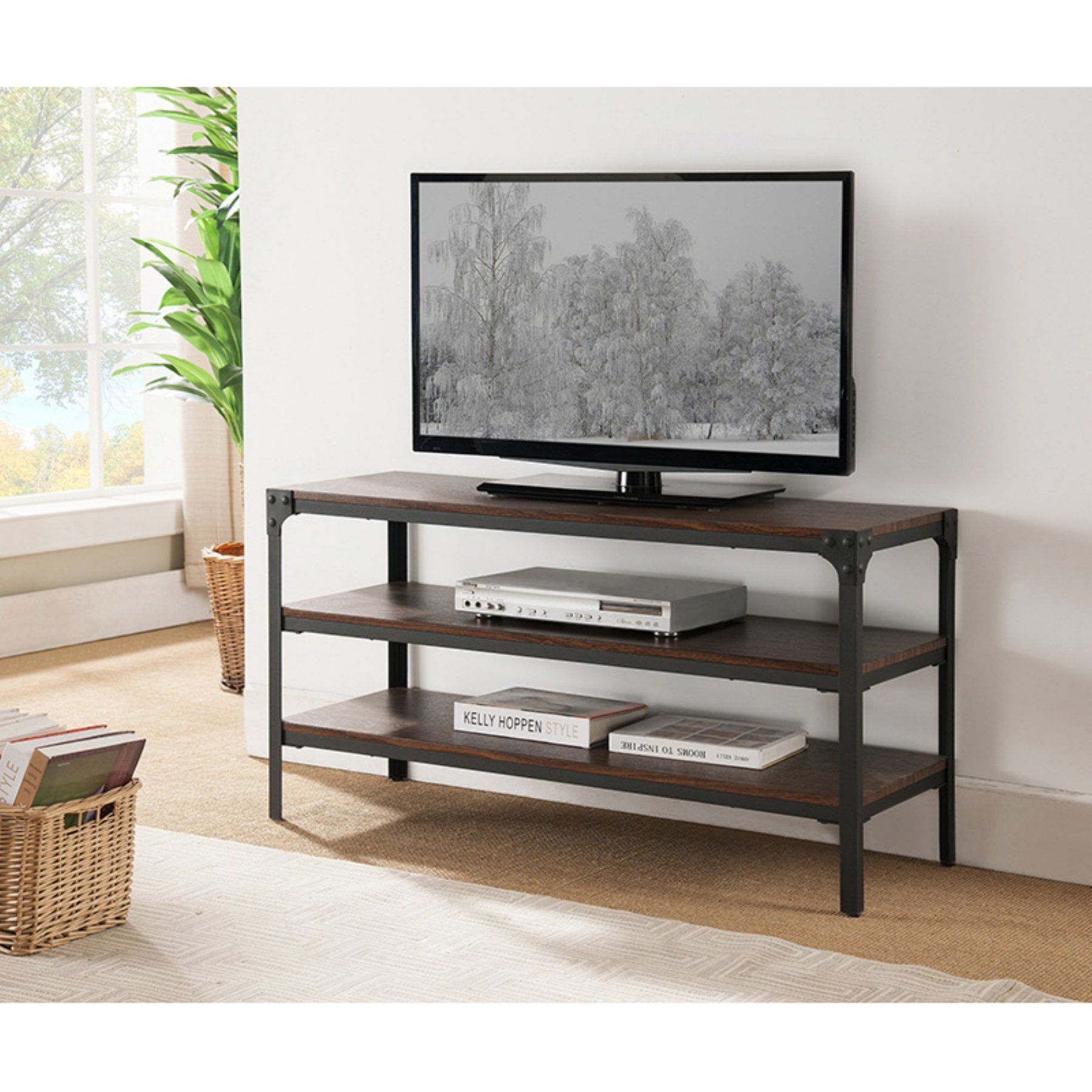 K&B Furniture 46 in Metal and Walnut 2 Shelf TV Stand E012