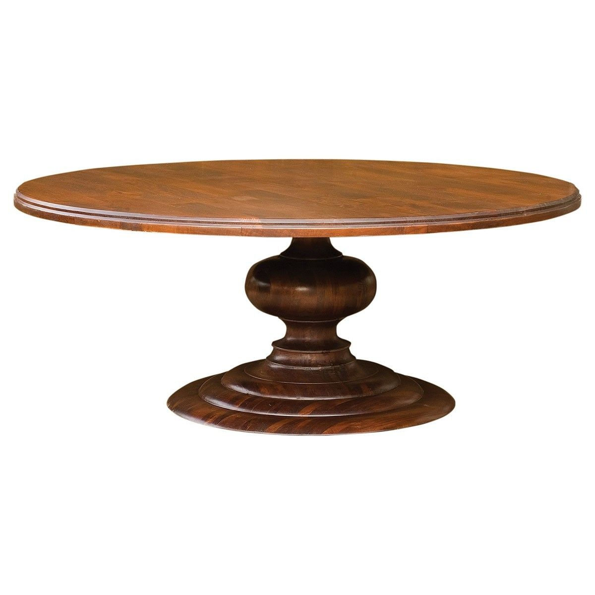 "76"" Round Pedestal Dining Table Cocoa"