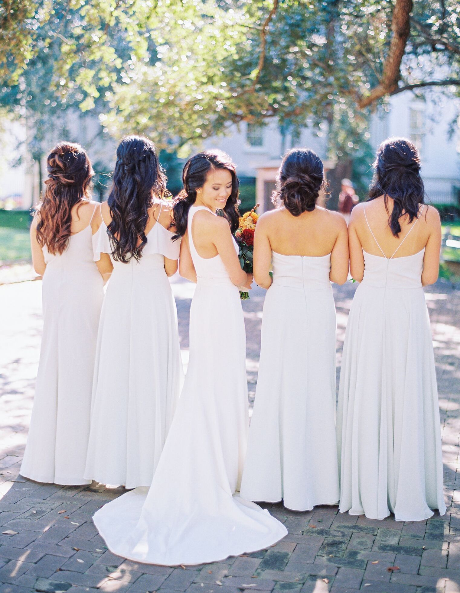 Jenny Yoo Bridesmaids Shown In The Mila Blake Inesse And Racquel Luxe Chiffon Long Dresses In The Color S Wedding Dress Shopping Bridesmaid Wedding Dresses [ 1963 x 1521 Pixel ]