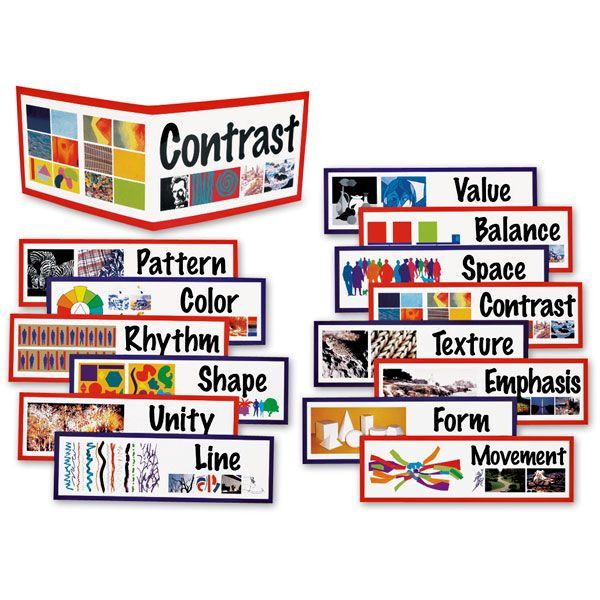 Classroom Design Principles ~ Elements of art poster display cards and