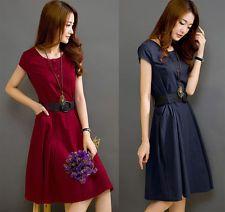 http://ift.tt/1iFcTMU Fashion Womens Summer Casual Short Sleeve Linen Slim Bodycon Belted Shirt Dress