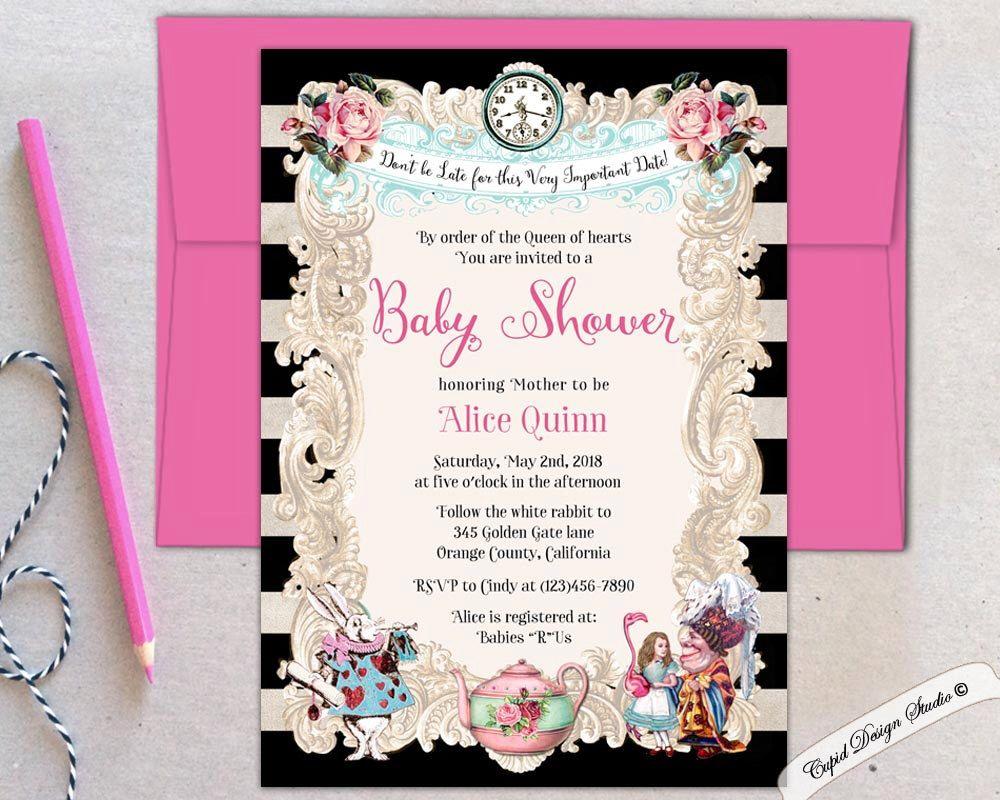 Alice in Wonderland unique baby shower invites Baby shower ...