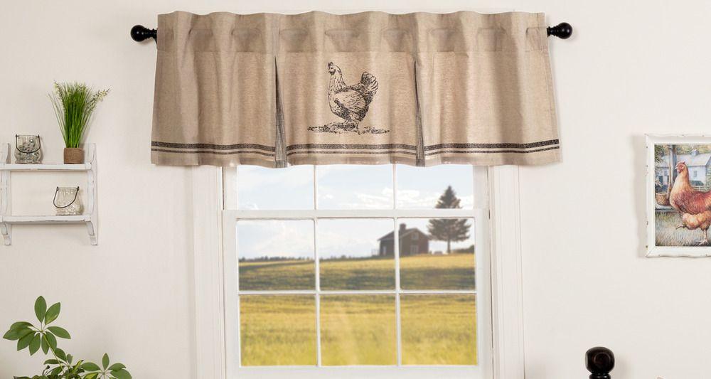 Country curtains Chicken curtains Farmhouse style curtains Farmhouse valance Farmhouse kitchen valance Bathroom valance