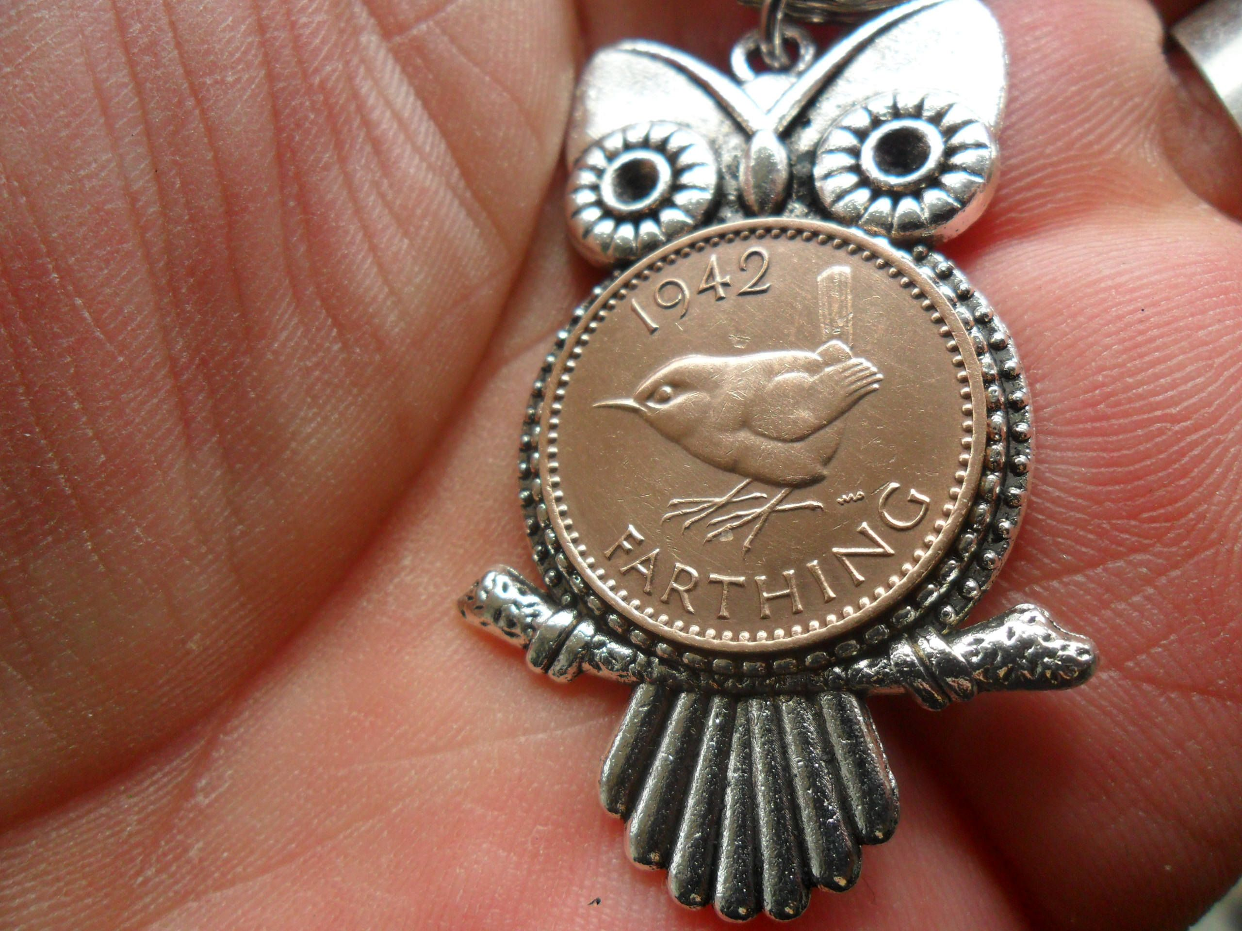 75th Birthday Gift Owl Keyring With British 1943 Bird Coin For A Woman Man Present By Staffscoins On Etsy