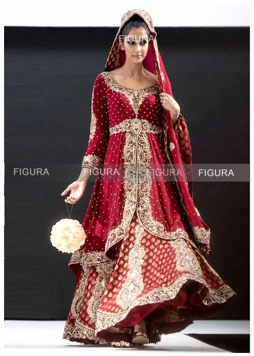 272044c470 Figura Fashion pakistani style lehenga with long kameez. Maroonish red  bridal lacha lehenga