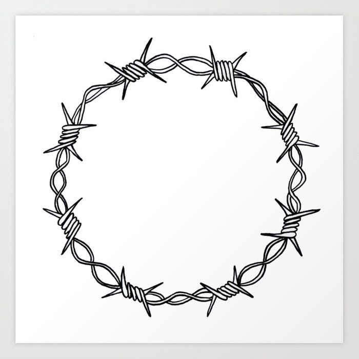 Barbed Wire Wreath Art Print By Alishas X Small Barbed Wire Tattoos Barbed Wire Wreath Barbed Wire
