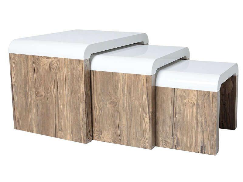 set de 3 tables basses gigognes havana