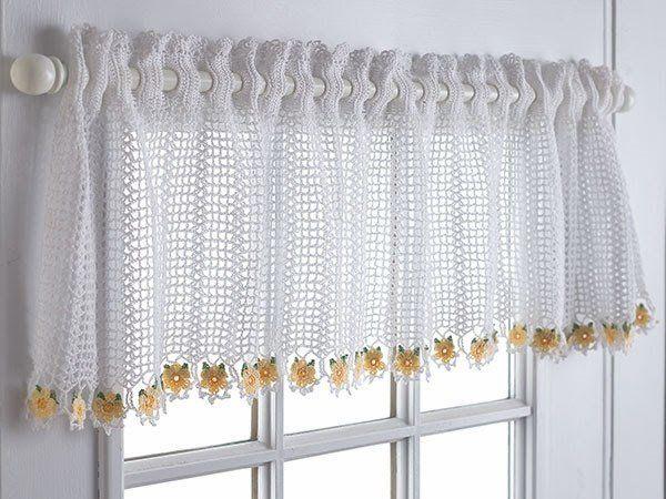 crochet white valances for windows ideas kitchen window treatment - valance patterns