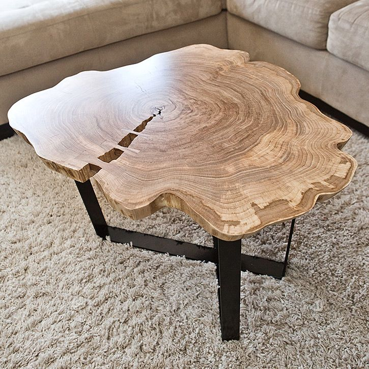 Live Edge Square Coffee Table: Round Live Edge Coffee Table