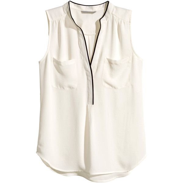 H&M Sleeveless blouse (€8,19) ❤ liked on Polyvore featuring tops, blouses, shirts, h&m, t-shirts, natural white, white sleeveless top, sleeveless tops, v neck blouse and v neck sleeveless shirt