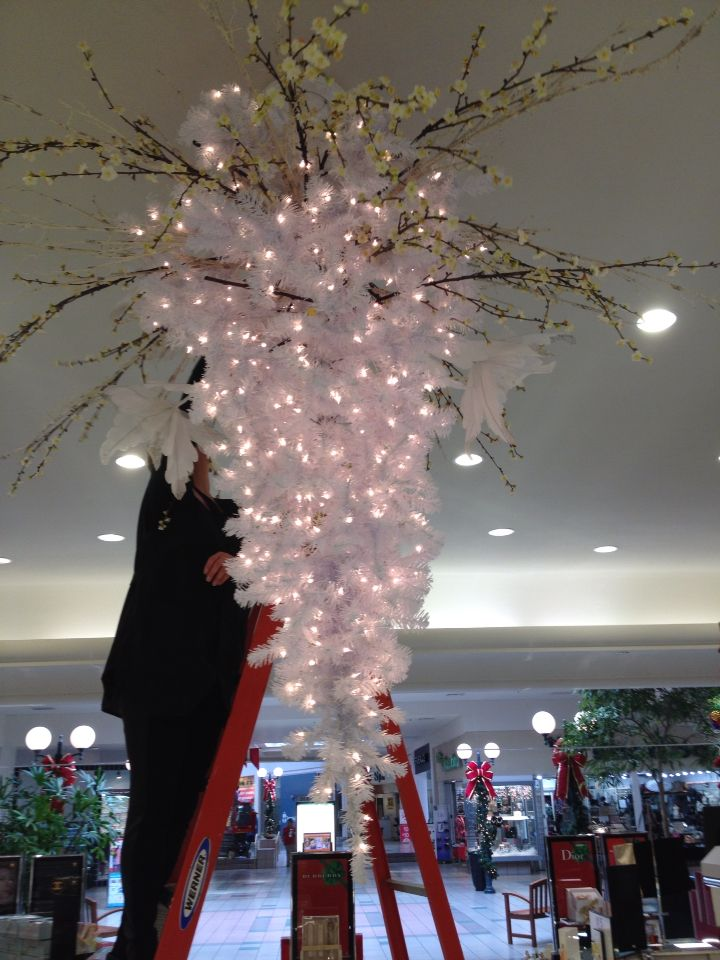 Winter Wonderland Chandelier Start With A White Tree Hung Like A Ceiling Fan And Add Picks