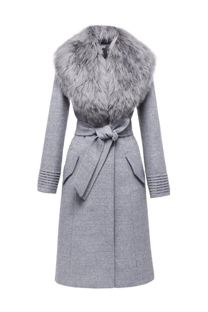 Long Coat With Fur Collar Long Grey Coat Fashion Long