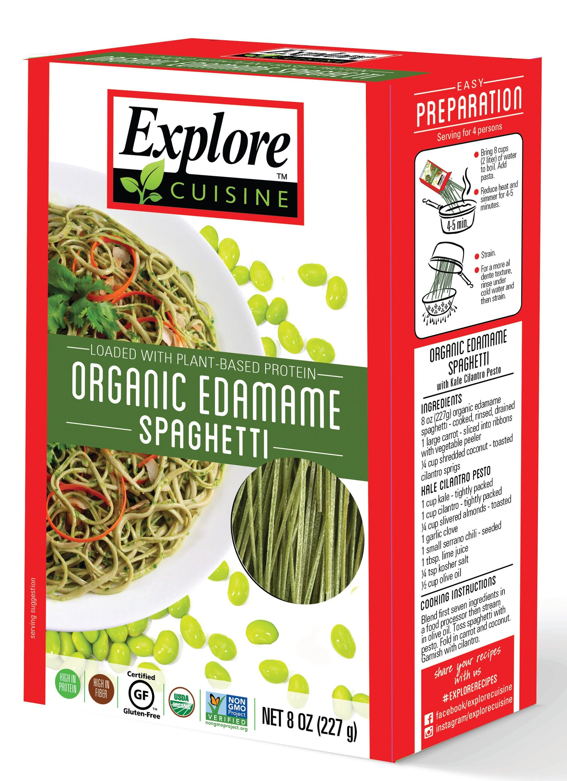 Organic Edamame Spaghetti By Explore Cuisine 1 Ingredient Green