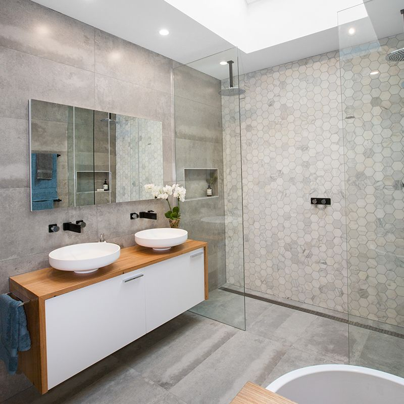 Unique Grey tile skylight double shower Blue Team Lisa & John Bathroom Idea - Modern grey and blue bathroom ideas Luxury