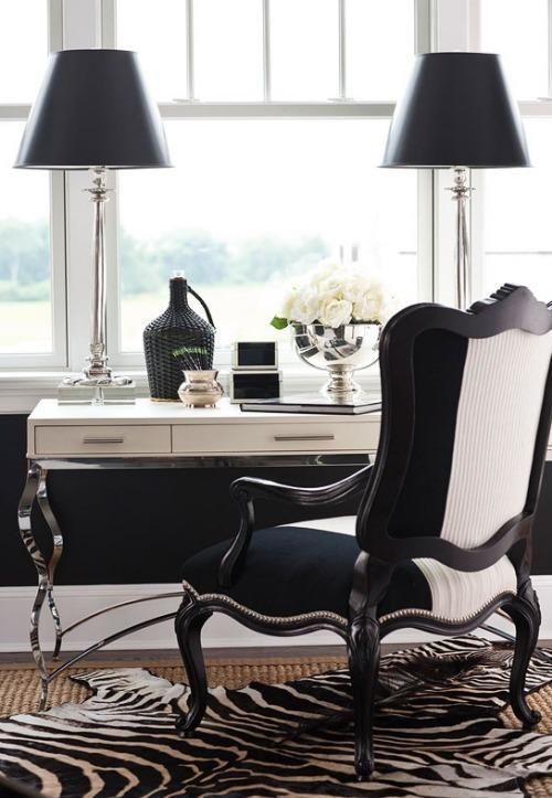 black and white office decor. Black emilanton  Monochrome home office Out Pinterest