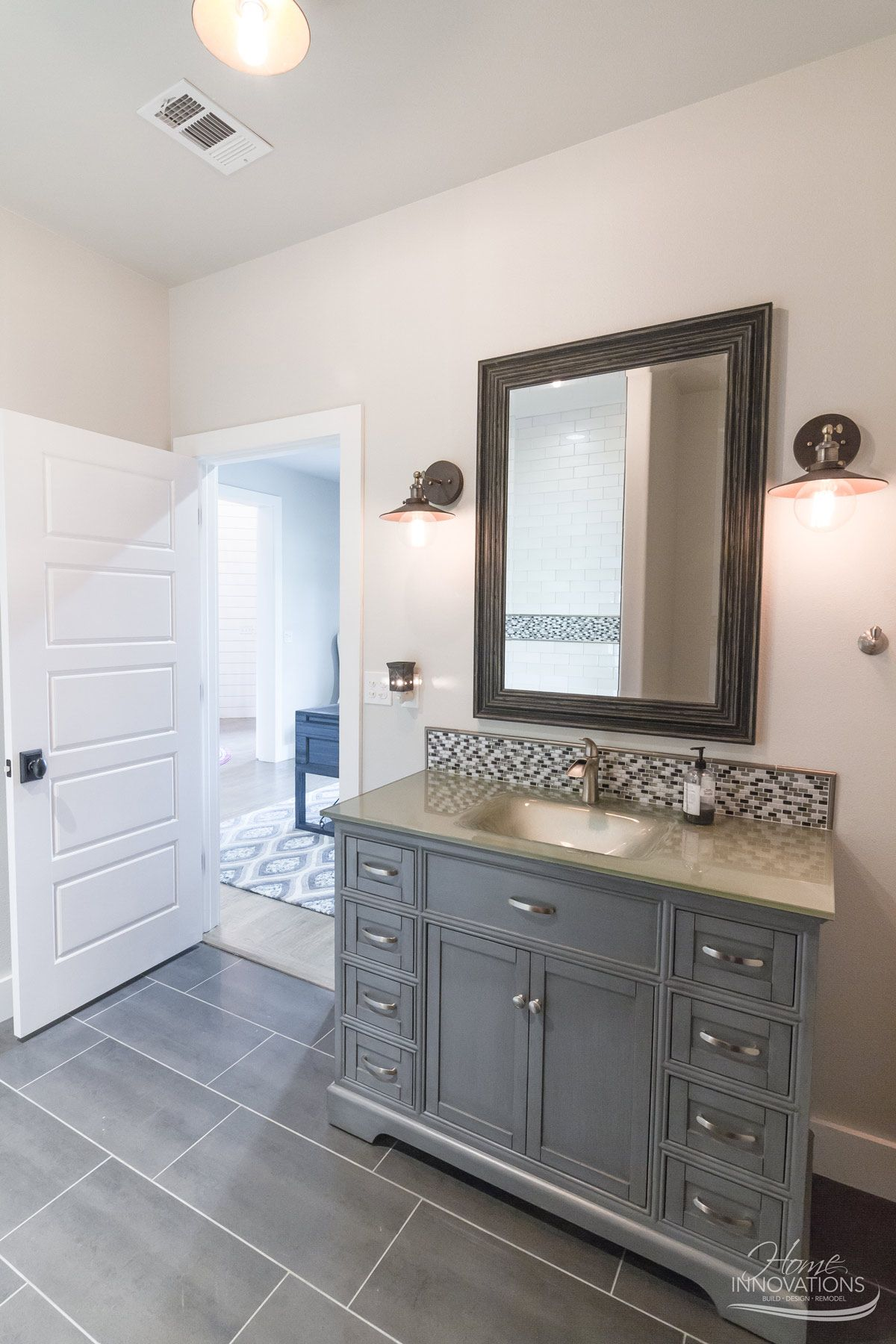 Custom home builder tulsa ok bathroom with gray porcelain tile