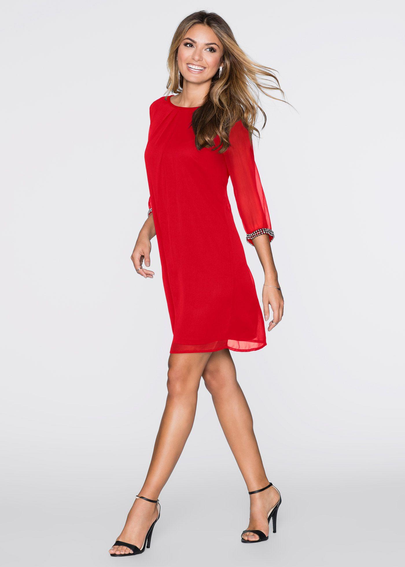 Chiffon-Kleid rot jetzt im Online Shop von bonprix.de ab ? 17,17