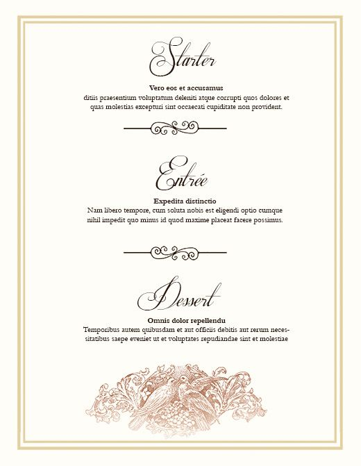 WeddingDayMenuClassic  Weddings    Wedding Menu