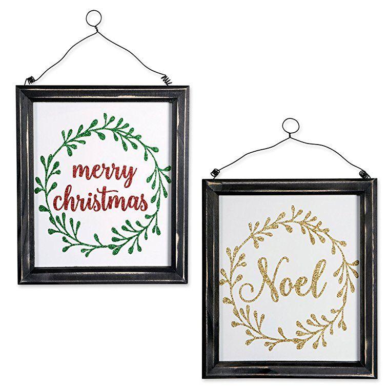 Indoor/Outdoor Hanging Noel & Merry Christmas Wooden Sign to ...