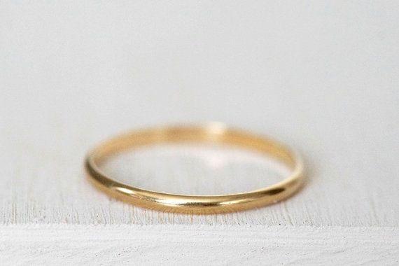 14k thin gold ring Plain 14k gold band Simple gold ring Gold