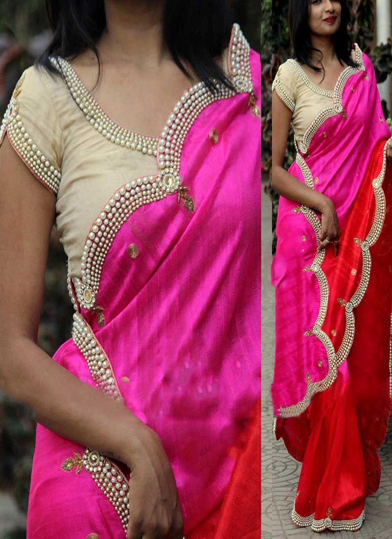 Shaded Red Pink Stone Work Diamond Work Silk Georgette Raw Silk ...