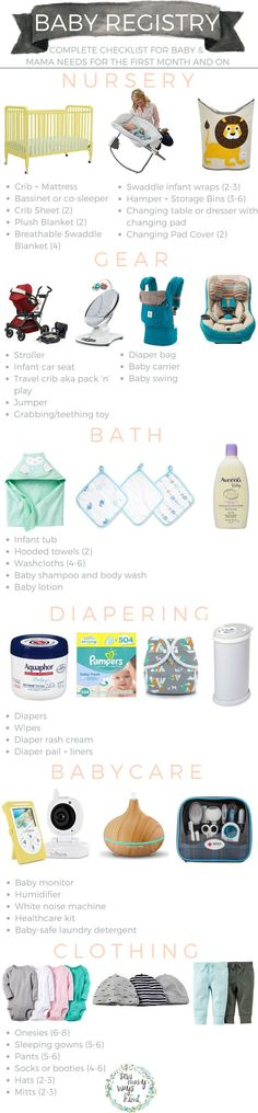 Baby registry checklist for everything mama and baby needs! Includes - baby registry checklists