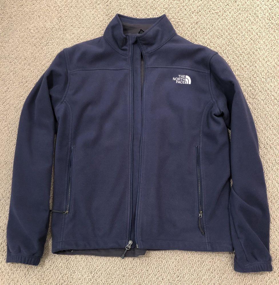 The North Face Men S Navy Blue Fleece Zip Up Jacket Size M North Face Mens Jackets Mens Navy [ 1000 x 976 Pixel ]