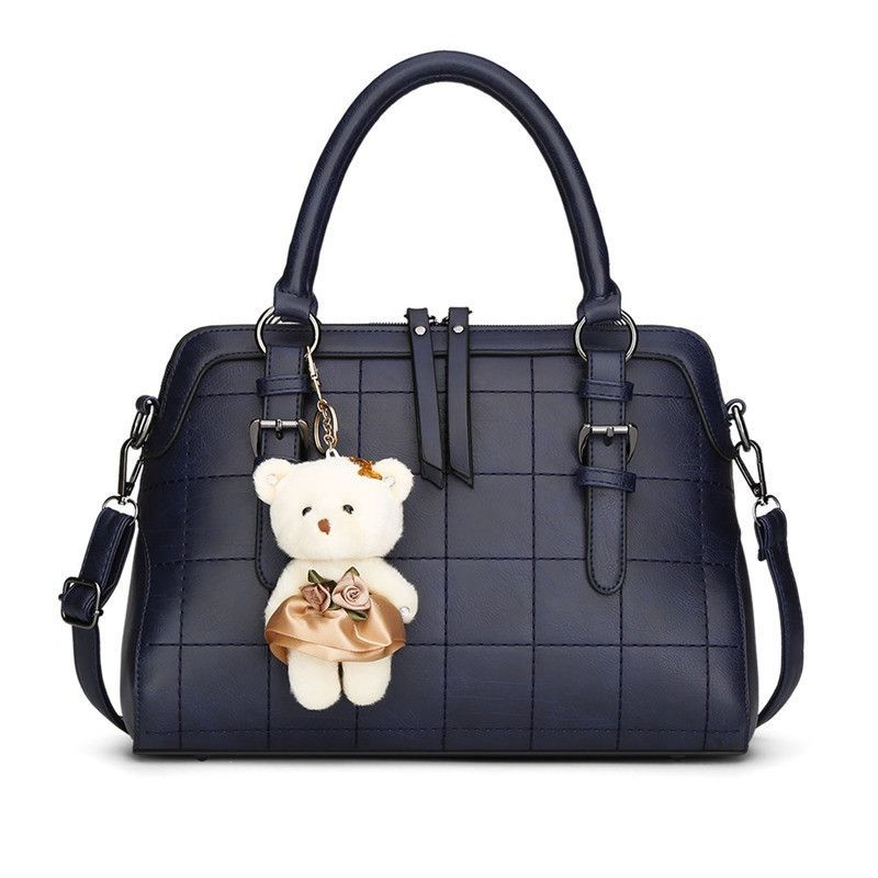 SUNNY SHOP 2016 Spring New Plaid Women Shoulder Bag With Bear Toy High Quality European and American Women Bags Vintage Handbag