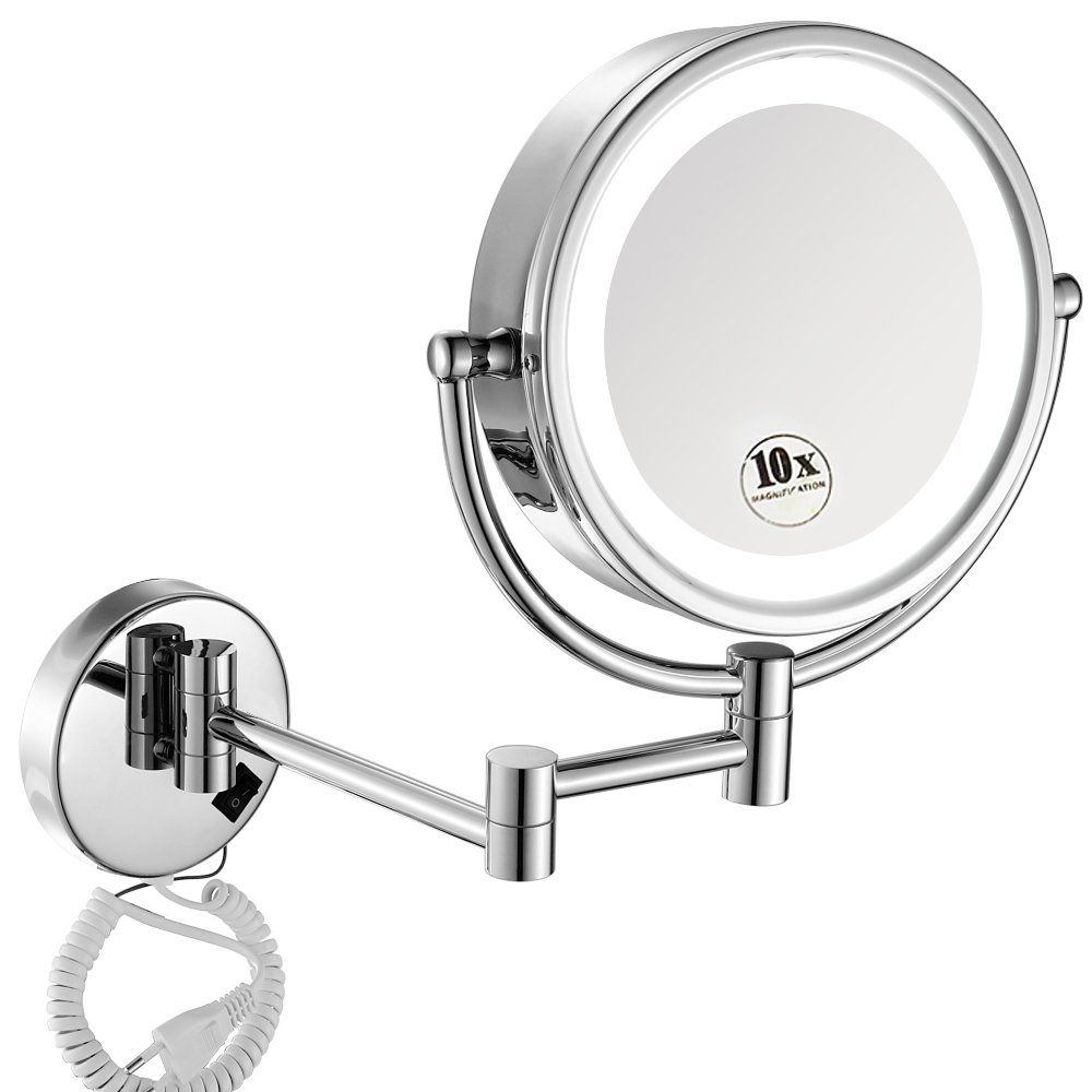 Gurun 8 5 Inch Led Lighted Wall Mount Makeup Mirrors With 10x Magnification Chrome M1809d 8 5in 10x Makeup Mirrors Wall Mounted Makeup Mirror Makeup Mirror