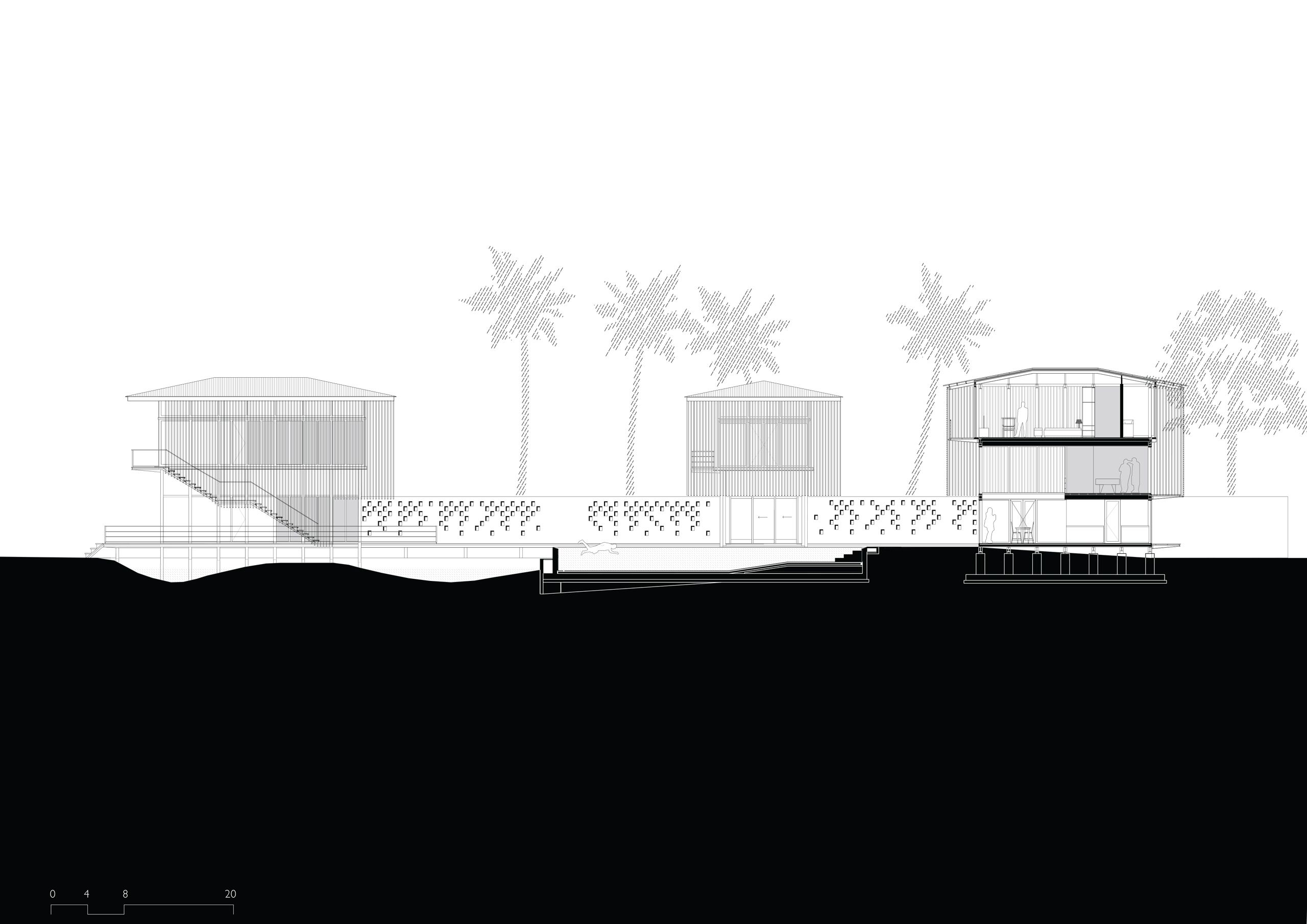 The stilted pavilions of the resort sit light on the landscape in contrast the laterite courtyard walls, which tie these pavilions into the land. The pavilions open to the water bodies on the ground floor, with sliding shutters opening up the living spaces completely. #architecturedrawing #section #blackandwhite #hoteldesigner #hospitalitydesigner #luxuryhoteldesign #luxuryhotelsworld #traveldesign #boutiquehotels #boutiquehoteldesign