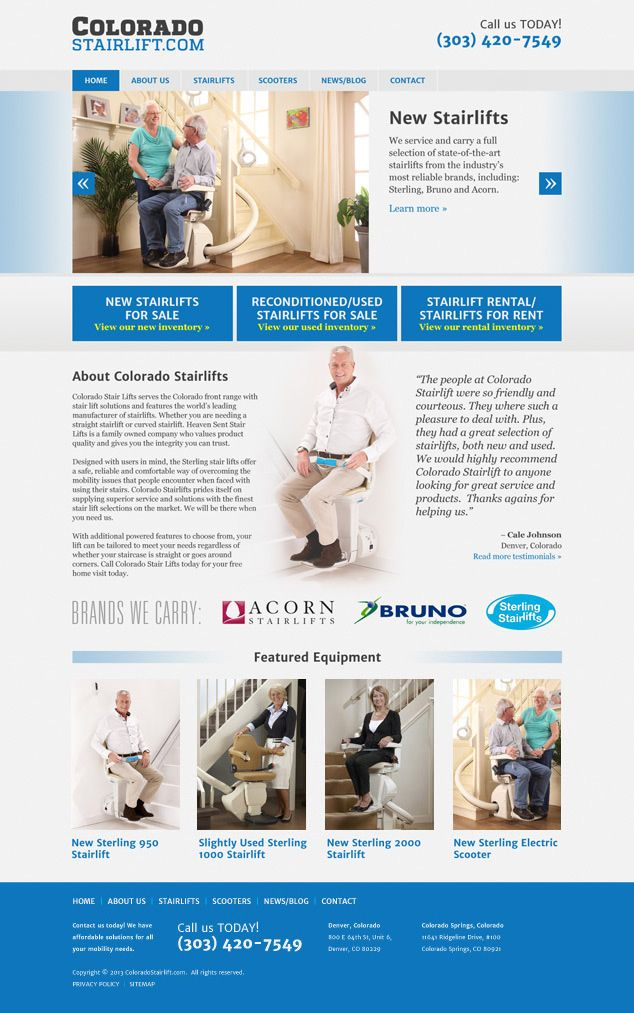 Coloradostairlift Com Website Home Page Design By Visuallure Com Wordpress Web Design Web Development Design Web Design