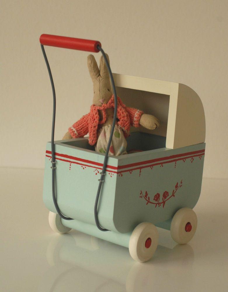 Maileg Hasenwagen Holz Neu Bettzeug Baby Micro Hase Bunny Maus Puppewagen Puppen Baby Puppenhaus
