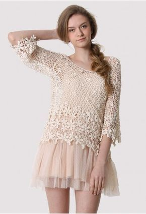 Crochet Mesh Mid-Sleeve Top - Retro White and Nude Collection - Dress - Retro, Indie and Unique Fashion