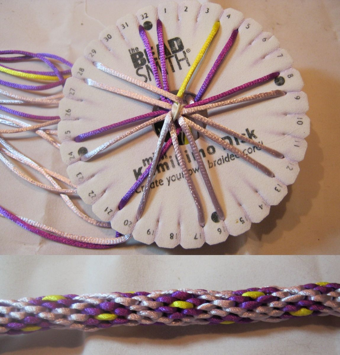 Kumihimo letus start with an wire bracelet flower pattern
